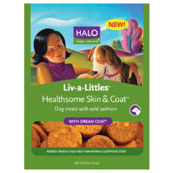 Halo Liv-A-Littles Healthsome Wild Salmon Flavored Skin & Coat Dog Treats With Dream Coat 6 oz