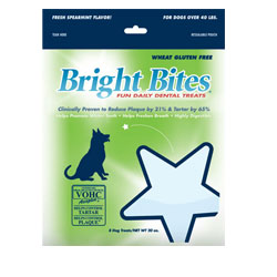 Bright Bites Daily Dental Fresh Spearmint Flavor Large Dog Treats 1.25-lb.