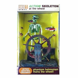Skeleton at Wheel Action Aerating Aquarium Ornament by Penn Plax
