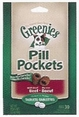 Pill Pockets for Dogs Beef Flavor Tablets 3.2oz Bag