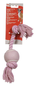 Dogit Pink Cotton Rope Bone w/Tennis Ball 12