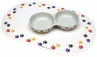 Stoneware Paw Print Cat Dish Double Diner - 8.5""