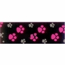 Hagen Dogit Style Nylon Leash with Comfort Handle - Footloose Pink on Black Nylon Large 3.4 inch X 6 feet