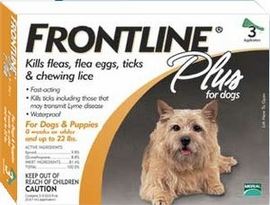 Frontline Plus for Dogs up to 22 lbs 3 or 6 Month Supply ORANGE
