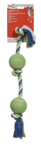 Dogit Striped Cotton Bone w/2 Tennis Balls 24
