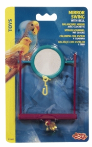 (B1666) Living World Plastic Mirror Swing w/ Bell