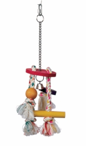 (B1126) Junglewood Rope Chime with Round Top, Bell Bead, Block, Cylinder & Peg