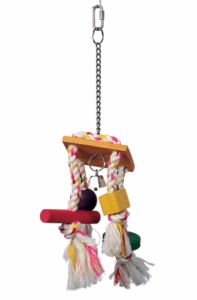 (B1127) Junglewood Rope Chime w/ Bell, Cylinder, Block & Bead