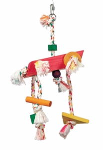 "(B1132) Junglewood Rope w/Large Rectangular Block, 2 Cylinders, Bead, 1/2"" x 16"" Triangle & 2 Small Blocks 9"""