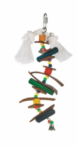 Living World Small Skewer w/ Wood Pegs, Beads, Leather Strips & Bell