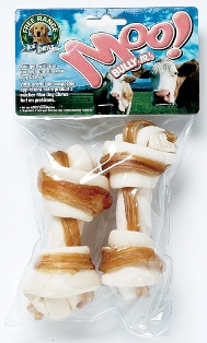 Free Range Dog Chews Bully Jr. & Hide Small Knotted Bones (2-Pack)