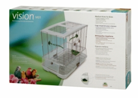 "Vision Medium Bird Cage #M01, 25""x16""x21"", Small Wire, Single Height, Green Perches & Food/Water Dishes"