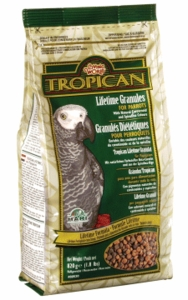 """Tropican"" Lifetime Maintenance Parrot Granules, 1.8 lbs., standup air barrier zipper bag"