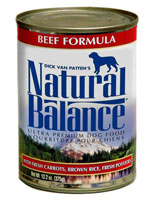 Natural Balance Beef Formula Canned Dog Food with Fresh Carrots, Brown Rice & Fresh Potatoes Case of 24/13.2oz Cans
