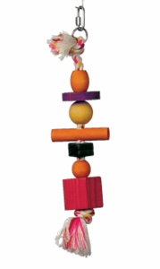 "(B1121) Junglewood Rope w/ 3 Beads, 2 Blocks, 1 Cylinder, 1 Peg, 4"" x 11"""