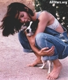Sandra Bullock with her dog
