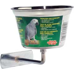 (B751) Living World Stainless Steel Parrot Cup, 16 oz.
