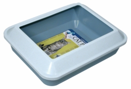 Catit Littershield Cat Pan Set, Large, Marble White/Fog Blue