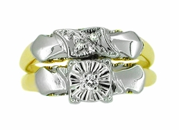 Retro Moderne Diamond Wedding Set in 14 Karat White and Yellow Gold