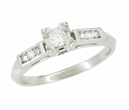 Mid Century Diamond Engagement Ring in 14 Karat White Gold