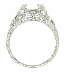 Art Deco Diamond Set 1.5 Carat Filigree Platinum Engagement Ring Mounting