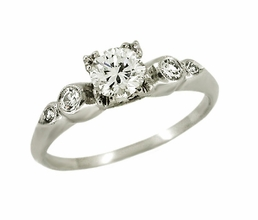 Retro Moderne Diamond Set Platinum Engagement Ring