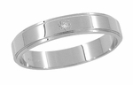 Starburst Diamond Grooved Edge Wedding Band in 14 Karat White Gold