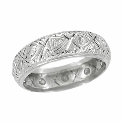 Art Deco Diamond Wide Antique Wedding Band in Platinum - Size 7