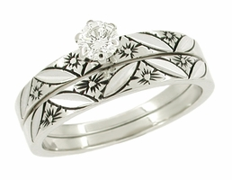 Floral Antique Finish Wedding Set in 14 Karat White Gold