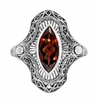 Art Deco Filigree Marquise Garnet Cocktail Ring in Sterling Silver | Vintage Inspired Right Hand Garnet Ring