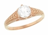 Art Deco Scrolls and Wheat White Sapphire Solitaire Filigree Engraved Engagement Ring in 14 Karat Rose Gold