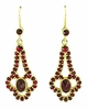 Victorian Bohemian Garnet Drop Earrings in 14 Karat Yellow Gold and Sterling Silver Vermeil