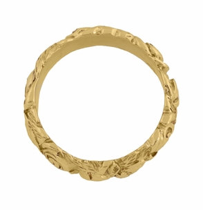 Engraved Roses Wedding Band in 14 Karat Yellow Gold - Click to enlarge