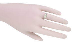 Edwardian Oval Prasiolite ( Green Amethyst ) Filigree Engagement Ring in Sterling Silver - Item R1125GA - Image 5