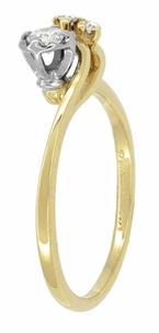 Moon and Stars Bypass Vintage Diamond Engagement Ring in 14 Karat Yellow Gold - Click to enlarge
