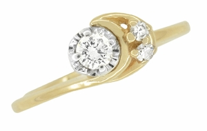 Moon and Stars Bypass Vintage Diamond Engagement Ring in 14 Karat Yellow Gold - Item R845 - Image 3