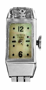 Retro Moderne Ladies Diamond Set Bracelet Watch in 14 Karat White Gold - Click to enlarge