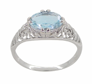 Edwardian Oval Sky Blue Topaz Filigree Engagement Ring in 14 Karat White Gold - Item R799WBT - Image 3