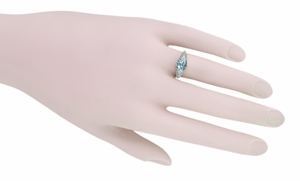 Edwardian Oval Sky Blue Topaz Filigree Engagement Ring in 14 Karat White Gold - Click to enlarge