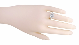 Edwardian Filigree Emerald Cut Cubic Zirconia ( CZ ) Ring in Sterling Silver - Click to enlarge
