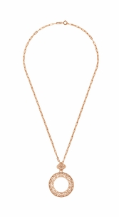 Art Deco Eternal Circle of Love Filigree Pendant Necklace in Sterling Silver with Rose Gold Vermeil - Item N170R - Image 2