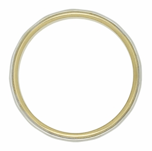 3mm Wide Millgrain Edge Vintage Wedding Band in Two Tone 14 Karat Gold - Click to enlarge