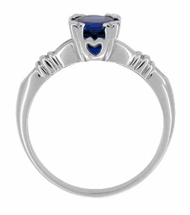 Art Deco Hearts and Clovers Blue Sapphire Solitaire Ring in Sterling Silver - Click to enlarge