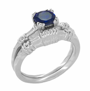 Art Deco Hearts and Clovers Blue Sapphire Solitaire Ring in Sterling Silver - Item SSR163S - Image 2