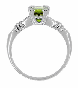 Art Deco Hearts and Clovers 1 Carat Peridot Solitaire Promise Ring in Sterling Silver - Item SSR163P - Image 1