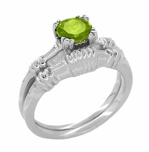 Art Deco Hearts and Clovers Peridot Solitaire Ring in Sterling Silver - Item SSR163P - Image 2