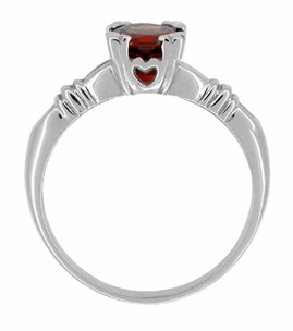 Art Deco Hearts and Clovers Almandine Garnet Solitaire Ring in Sterling Silver - Click to enlarge