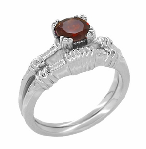 Art Deco Hearts and Clovers Almandine Garnet Solitaire Ring in Sterling Silver - Item SSR163G - Image 2