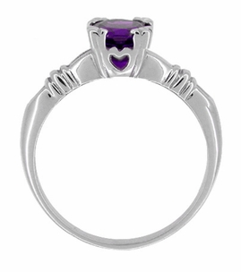 Art Deco Hearts and Clovers Amethyst Solitaire Promise Ring in Sterling Silver - Item SSR163AM - Image 1