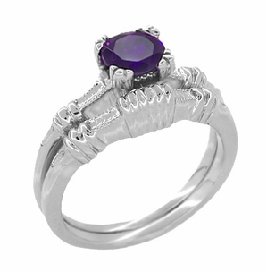 Art Deco Hearts and Clovers Amethyst Solitaire Ring in Sterling Silver - Item SSR163AM - Image 2